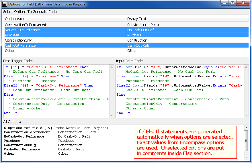 Field Explorer for Encompass360 - Field Option Enumeration And Code Generator